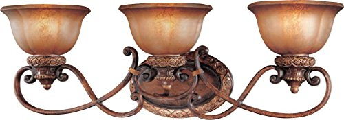 Minka Lavery Wall Light Fixtures 6353-177 Illuminati Glass Bath Vanity Lighting, 3 Light, 300 Watts, Bronze (Art Glass Bath Vanity)