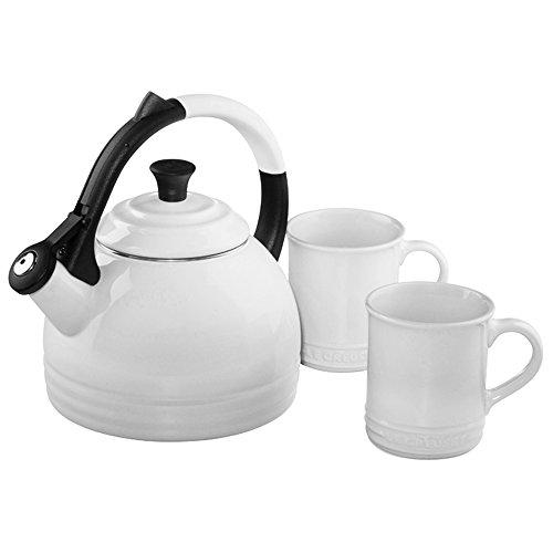 Le Creuset Enamel-On-Steel Kettle and Mug Gift Set, White (Whistling White Creuset Le Kettle)