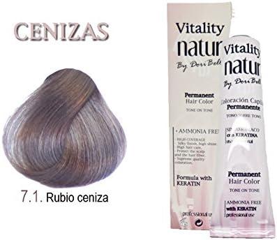 Tinte Vitality Natur Sin Amoniaco + Keratina 60ml. Tono Rubio Ceniza
