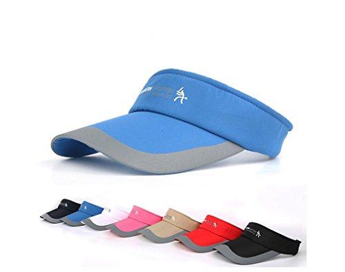 (HYSENM Unisex Adjustable Sun Sports Visor Cap Golf Cap Tennis Visor Hat Lightweight Sunscreen UV Protection Sweat Absorption for Cycling Running Golf Tennis Outdoors, Blue)