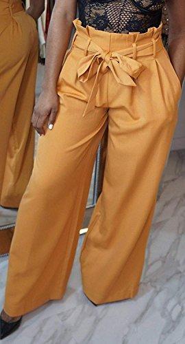 Larghi Gamba Moda Estivi Di Primaverile Cintura Lunga Tasche High Waist Abbigliamento Chic Larga Donna Mare Eleganti Trousers Stoffa Ragazza Casual Inclusa Khaki Pantaloni Dritti Pantaloni Con Pantaloni rxnr15Uw