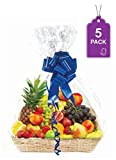 Clear Basket Bags, 5 Pack Large Clear Cellophane Wrap for Baskets & Gifts 30'x 40' 1.5 Mil Thick (5)