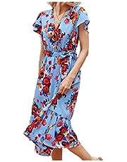 فستان سهرة برقبة على شكل حرف V وأكمام قصيرة تحت الركبة من DUe