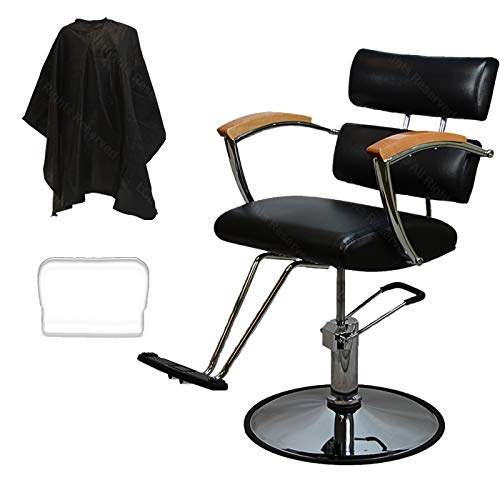 LCL Beauty Contemporary Black Hydraulic Barber Styling Chair with Oak Armrests