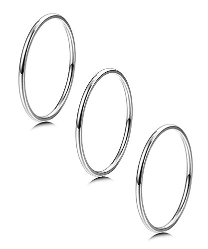 14 Kw Band - LOYALLOOK 3pcs 1mm Stainless Steel Women's Plain Band Knuckle Stacking Midi Rings Comfort Fit Silver Tone 7#