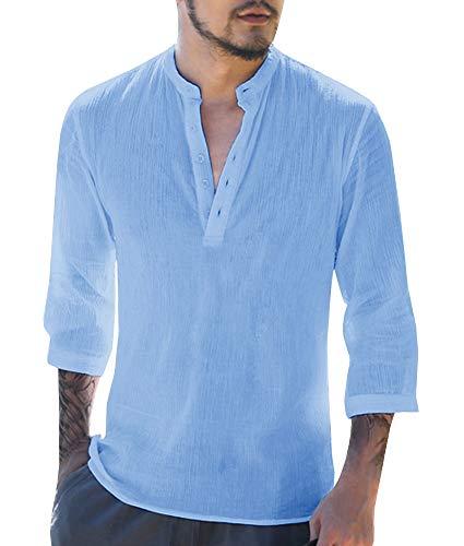 Work Kurta - Mens V Neck Cotton Linen Hippie Shirts Long Sleeve Casual Henley T-Shirt Top (XX-Large, A-Blue)