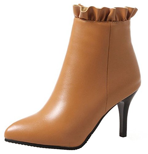 Yellow Short Easemax Zipper Women's Stiletto Ankle Side Dressy Booites High Pointy Toe High Heeled qACqwO