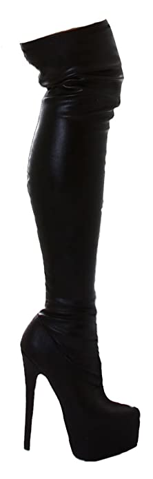 Jela London Overknee-Stiefel Boots mit Plateau aus Kunstleder in Schwarz  Gr. 36- e2c5f74c0f