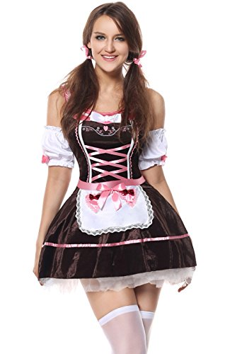 Lusiya Women's October Beer Maid Oktoberfest Costume for Halloween Party Brown Large/X-Large]()