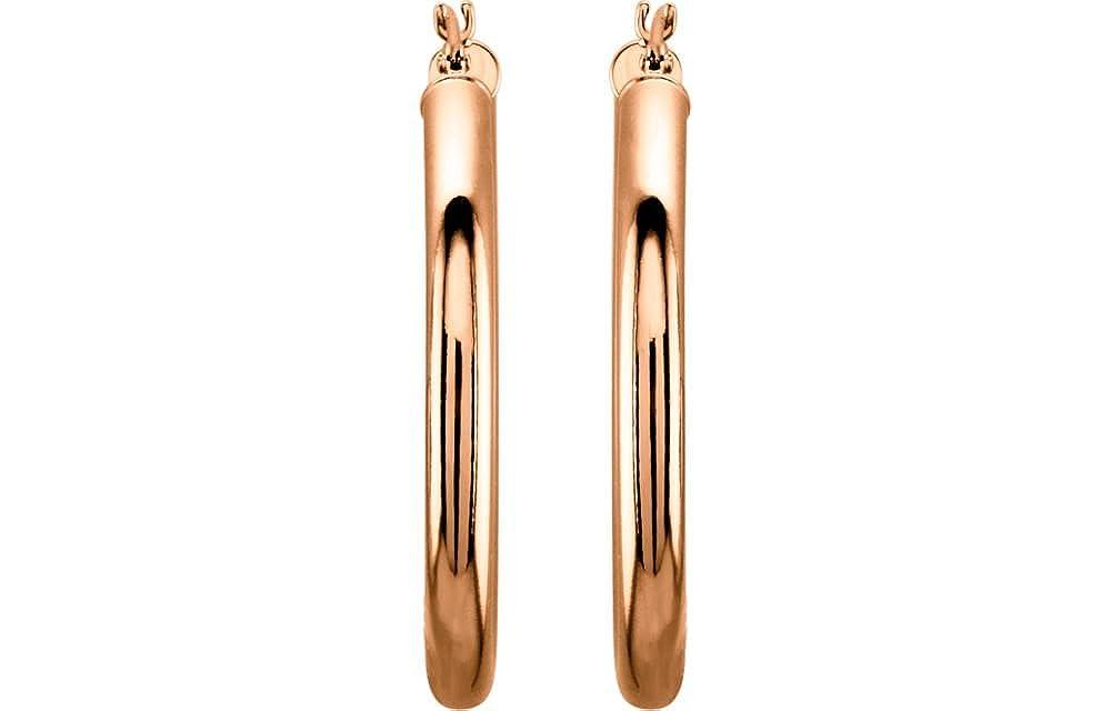 FB Jewels 14K Rose Gold 30mm Tube Hoop Earrings