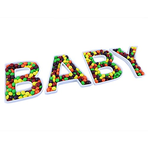 Baby Shower Shaped Candy - Just Artifacts 5.5inch White Cermaic Letter Dish Set - Letters: BABY - Decorative Dishes for Weddings, Anniversarys, Baby Showers, Birthday Parties, and Life Celebrations!