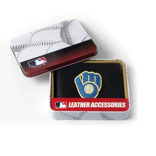 MLB Milwaukee Brewers Embroidered Genuine Cowhide Leather Billfold Wallet