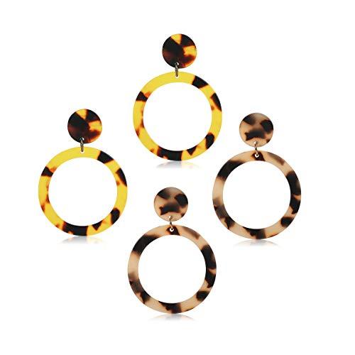Lucite Earrings Pierced (Acrylic Earrings Geometric Statement Earrings Resin Drop Dangle Earrings Fashion Jewelry for Women (Round Leopard Tortoise))