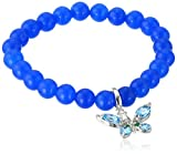 Kenneth Jay Lane Fine Jewelry Sterling Silver, Blue Agate, Blue Topaz, and Emerald Butterfly Stretch Bracelet, 3