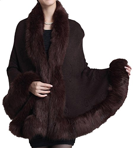 Fox Coat Brown Fur (Helan Women's Faux Fox Fur Shawl Cloak Cape Coat With Floral Coffee)
