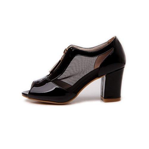 VogueZone009 Girls Open Peep Toe Kitten Heel Chunky Heels Mesh Patent Leather Solid Sandals with Zipper, Black, 4.5 UK