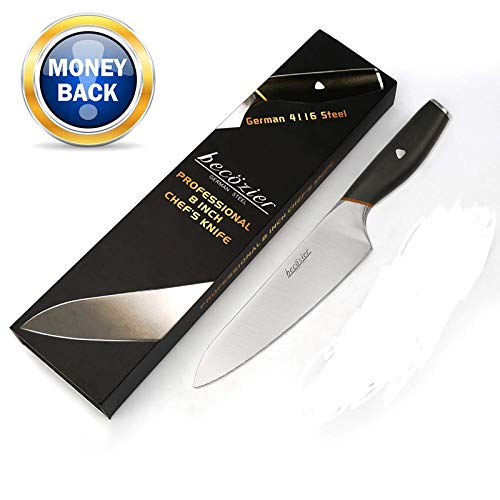 Becozier chef knife,8 inch professional kitchen knife,German High Carbon steel stainless steel with G10 handle sharp Edge,Ergonomic Grip by Becozier (Image #7)