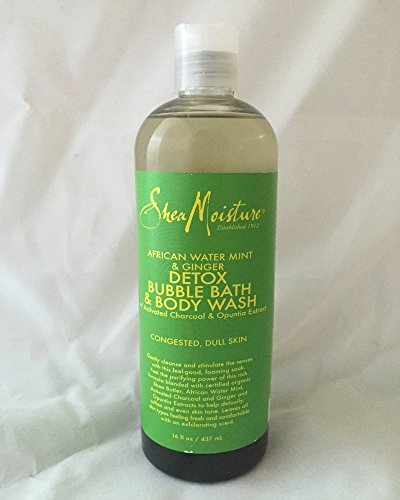 Shea Moisture African Water Mint & Ginger Detox Bubble Bath & Body Wash for Unisex, 16 (Bath Gel Moisture)