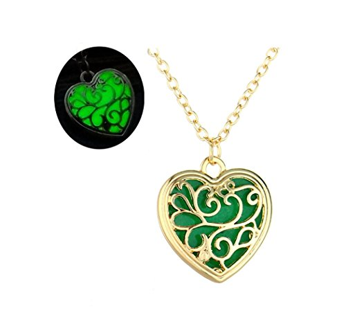 Hollow Out Tree Of Life Glow In The Dark Necklaces Pendants Gold Color Heart Luminous Glowing Stone Necklace Women (A)