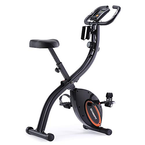 ECHANFIT Indoor Cycling Bike Folding Magnetic Exercise Upright Bike Stationary with 16 Levels Resistance Arm Training Bands and Electronic Display