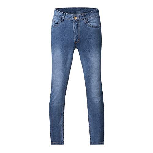 Mwzzpenpenpen Men's Straight Stretch Pocket Jeans Zipper Slim Fit Long Pants Shredded Fashion Causal Cargo Trousers