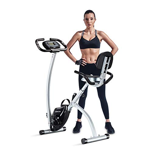 BCAN Folding Exercise Bike, Magnetic Upright Bicycle with Heart Rate, Speed, Time, Distance, Calorie Monitor – Grey/Black 2019 Version