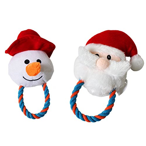 Stock Show 2Pcs Squeaky Plush Toys Pet Dog Christmas Santa Xmas Snowman Shape Chewing Cotton Rope Toy for Small Medium Breeds Dogs Doggie - Rope Snowman Toy