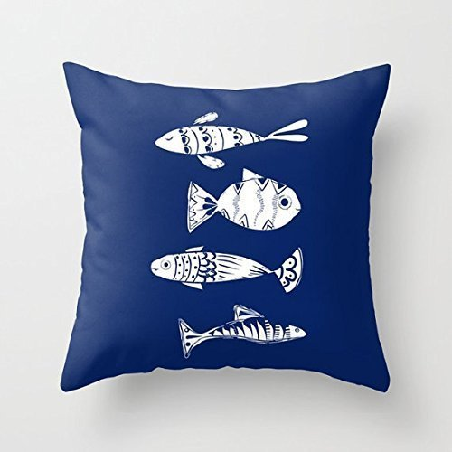 Nautical Fish Pillow Cover Decor Blue Custom Small Medium Large Case Throw Accent Gift Woman Coastal Apartment Beach House Ocean Throw Lake