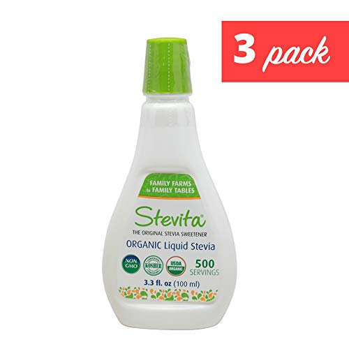 Stevita Organic Liquid Stevia Large (3 Pack) - 3.3 Ounces - All Natural Sweetener, Zero Calories - USDA Organic, Non GMO, Vegan, Keto, Paleo, Gluten-Free - 1,500 Total Servings