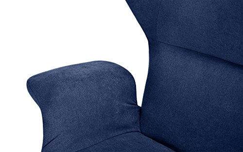 Accent Chair for Living Room, Linen Arm Chair with Natural Wooden Legs (Navy) by Divano Roma Furniture (Image #4)