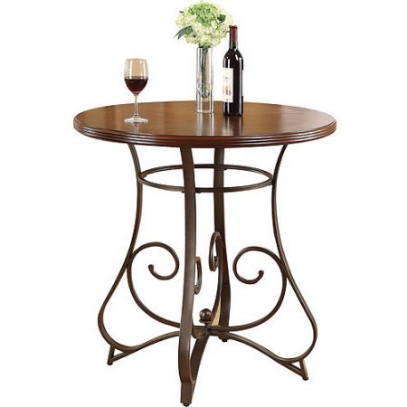 Tavio Pub Height Dining Table with Wood Top and Metal Scrolled Legs (Cherry)