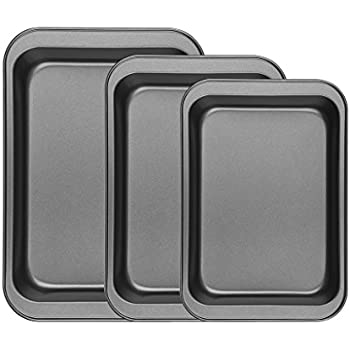 Finether Bakeware Set | Premium Nonstick Baking Pans | Set of 3 Square Baking Pans | Large and Medium and Small Nonstick Cookie Sheet Bake Ware for Home Kitchen Use