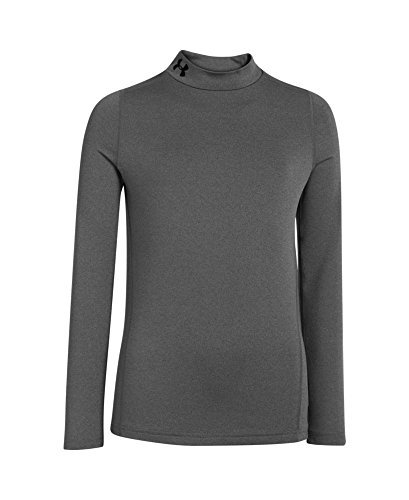 Under Armour Boys' ColdGear Evo Fitted Long Sleeve Mock Shirt, Carbon Heather/Black, Medium