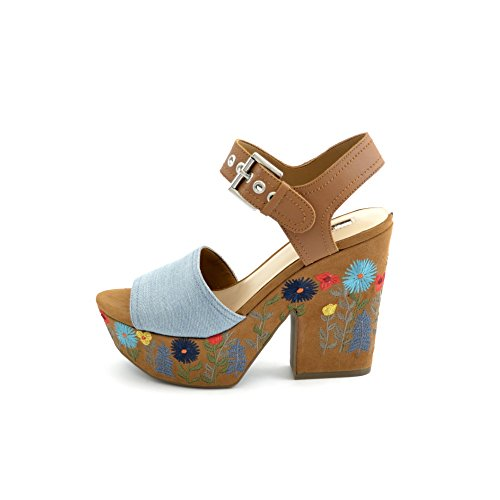 flower platform ankle COD with print and FLCAA1DEN03 sandals blue Fixing fabric embroidered heel Women's in SIZE suede Guess the 41 brown on strap and wZqvCcU