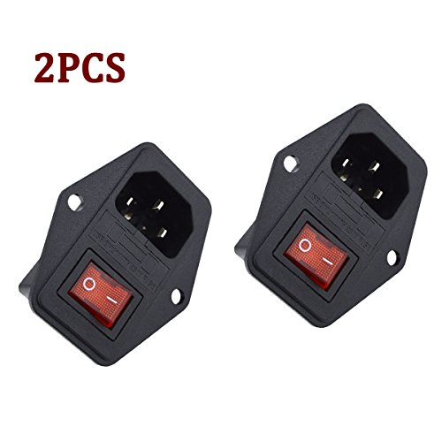 250v Inlet (URBEST 2 Pcs 3 Pin IEC320 C14 Inlet Module Plug 5A Fuse Switch Male Power Socket 10A 250V for Lab Equipment, Medical Devices …)