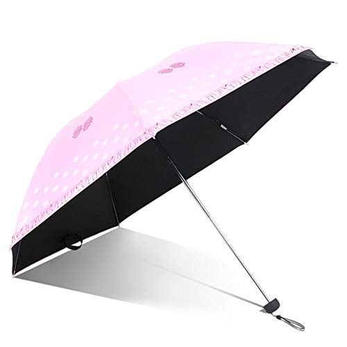 Wghz Umbrellas Vinyl Sun Protection Fold Anti-UV Small Fresh Three Fold Rainy Day Manual Dual-use Umbrella Automatic Opening/Closing Function (Color : 2)