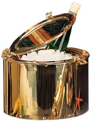 - Polished Brass Porthole Ice Bucket w/ Lacquer Coating