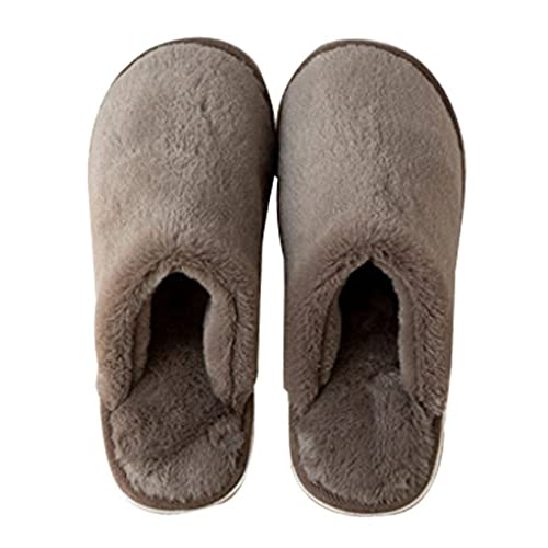 Cattior Mens Solid Fleece Warm Fluffy Slippers House Slippers