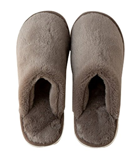 Cattior Mens Pile Solide Pantofole Morbide Calde Pantofole Casa Caffè
