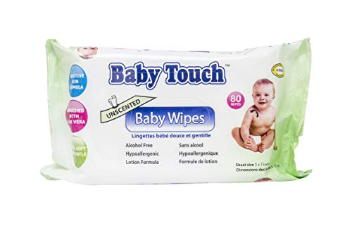 Baby Touch Wipes. Pack of 80 Premium Quality Unscented Baby Wipes. Cleansing Water Wipes for Sensitive Skin. Disposable Moist Wipes. Soft Wipes for Cleaning, Refreshing. Hypoallergenic, Alcohol-Free. 80 Ct Baby Wipes