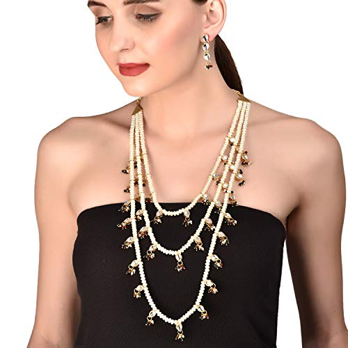 Touchstone New Mughal Jali Collection Indian Bollywood Finely Strung Faux Pearls Strands Kundan Look Princess's Choice Designer Jewelry Necklace Set in Gold Tone for Women. (Faux Gold Tone Jewelry Set)