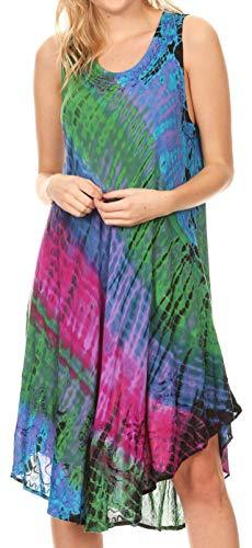 Sakkas 181501 - Isola Women's Tank Summer Bohemian Swing Midi Dress Sleeveless Tie-dye - Purple - ()