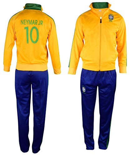 Fan Kitbag Brazil Neymar Jr #10 Kids Soccer Tracksuit All Youth Sizes ✓ Neymar Jr #11 Soccer Track Jacket Top ✓ Kids Soccer Track Pants ✓ GIFT READY Packaging ✓ (YM 8-10 Years Old, Neymar Jr #10)