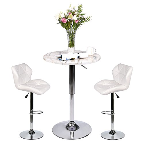 2 Piece Set Pub Table - Bar Table Set of 3 – Adjustable Round Table and 2 Swivel Pub Stools for Home Kitchen Bistro, Bars Wine Cabinets (Set 8)