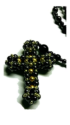 Authentic Hand Crafted Designer Black Swarovski, Gold Czech, Hemitite Rosary - Hemitite Stone
