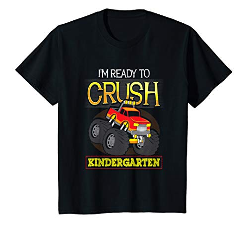 - Kids Ready to Crush Kindergarten First Day School Monster Truck T-Shirt