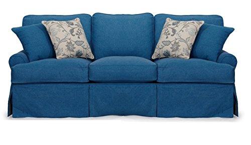 Sunset Trading Horizon Slipcovered Sofa, 88″, Indigo Blue