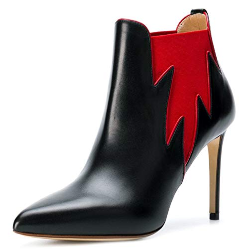 Noi Grazioso Chelsea Donne Dimensioni Tacchi Caviglia Scarpe Fsj Punta Nera 15 Chiusa Stivaletti 4 Alti Boots Foglia Zxw4P