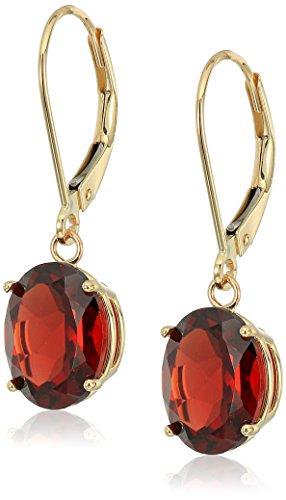 14K Gold Oval Gemstone Dangle Leverback - Leverback Earrings Garnet 14k