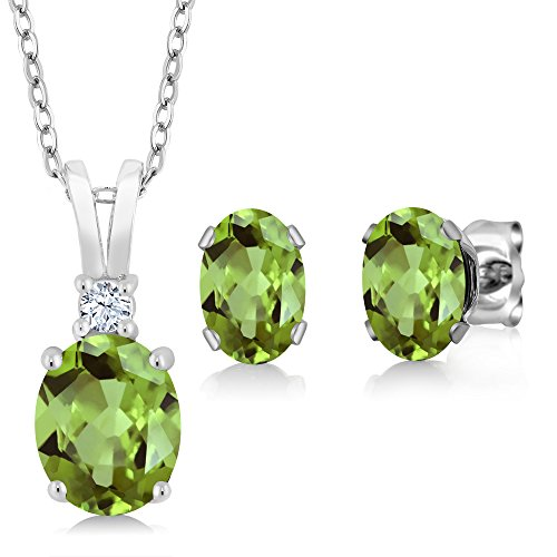 Gem Stone King Green Peridot 925 Sterling Silver Pendant Necklace Earrings Set 2.98 Ct Oval Gemstone with 18 Inch Silver Chain